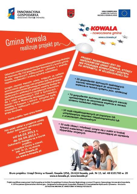 "Plakat promocyjny ""e-Kowala – nowoczesna gmina"""""